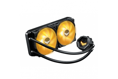 ASUS TUF Gaming LC 240 RGB all-in-one liquid CPU cooler with Aura Sync, and dual TUF 120mm RGB radiator fans