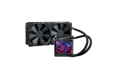 """ASUS ROG Ryujin II 240 all-in-one liquid CPU cooler with 3.5"""" LCD, embedded pump fan with PWM 120mm radiator fans"""
