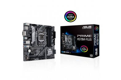 ASUS PRIME H570M-PLUS Intel® H570 (LGA 1200) micro ATX motherboard with PCIe® 4.0, 8 power stages, DisplayPort™, HDMI®, DVI, SATA 6 Gbps, USB 3.2 Gen 2 Type-C®, Intel® 1 Gb Ethernet, Thunderbolt™ 4 header support, and Aura Sync RGB lighting